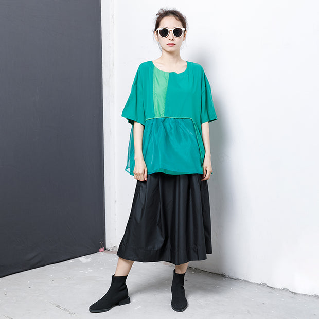 Casual Solid Short Sleeve Spliced Blouse