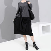 Casual Spliced Loose Comfortable O-neck Dress