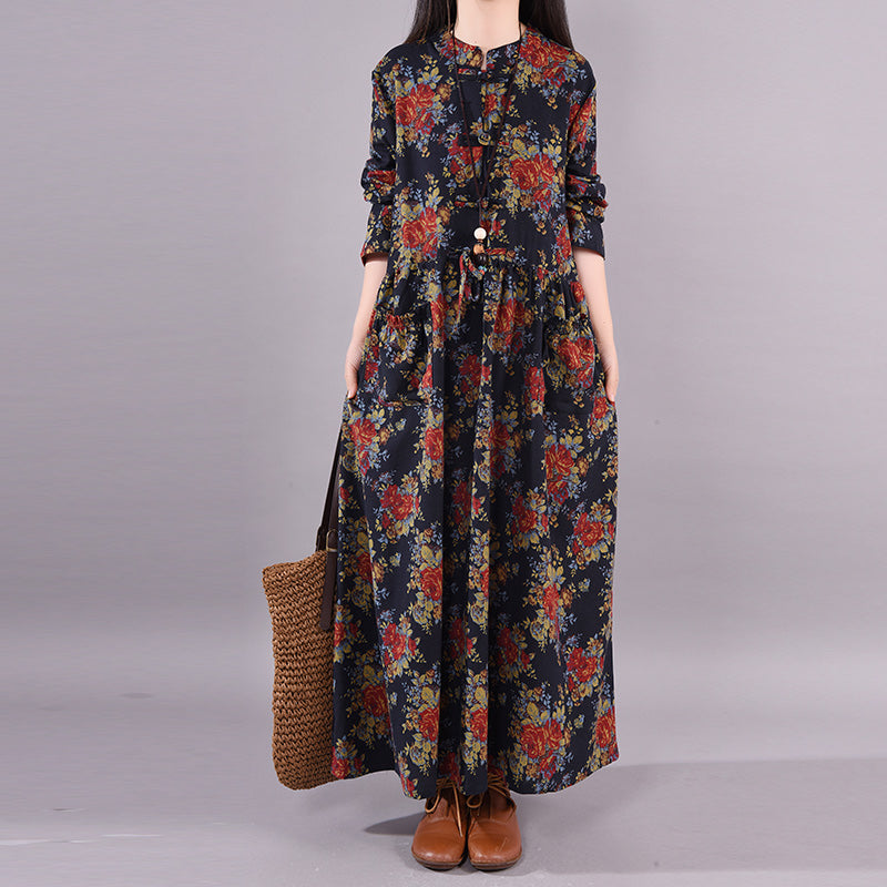 Plus Size -Casual Stand Collar Printed Cotton Linen Dress