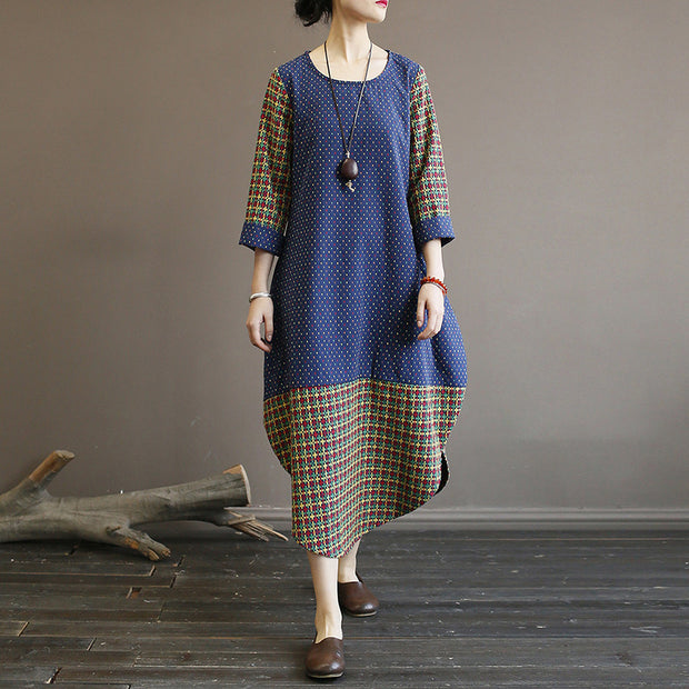 Casual Stitching Printed Long Sleeve Dress