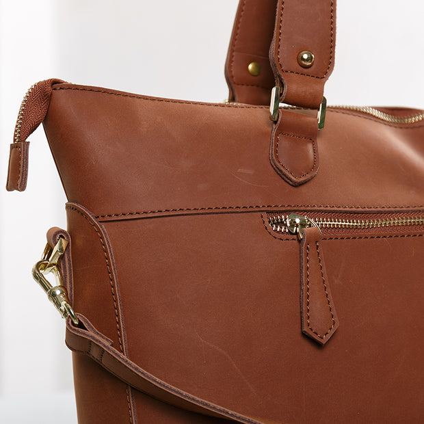 Casual Street Pure Color Sewing Brown Tote Bag