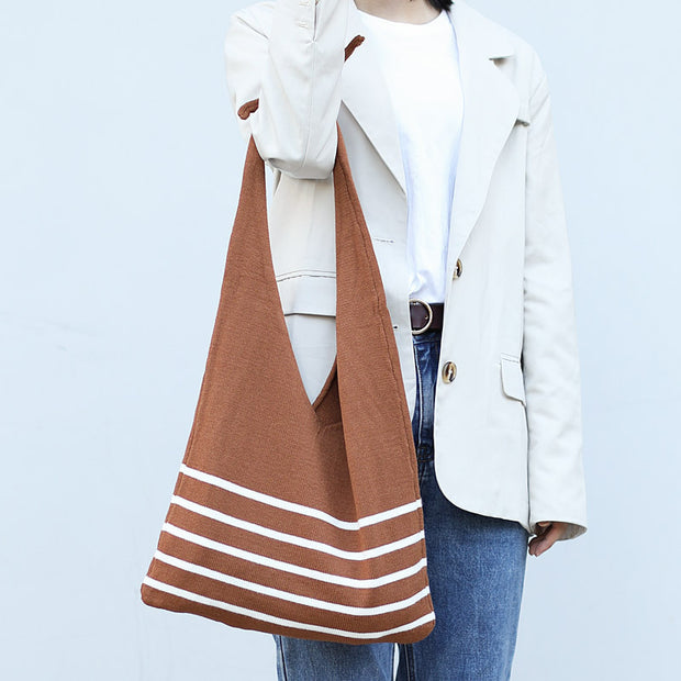 Casual Stripe Knit Shoulder Bag