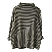Casual Stripe Long Sleeve Bottoming Shirt
