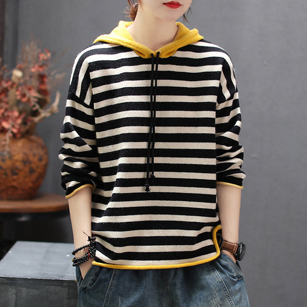 Casual Striped Pullover Color Matching Hoodie