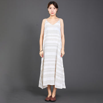 Casual Striped Split Hem Loose Slip Dress