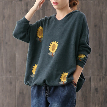 Buykud Casual Sunflower Adjustable Waist Hooded Sweater