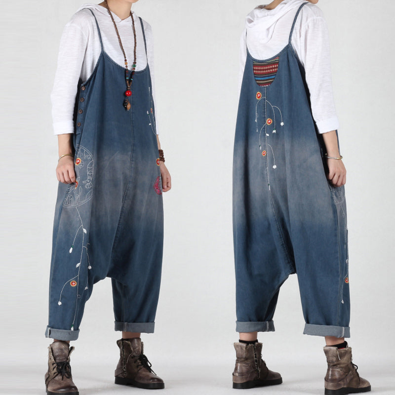 Casual Travel Loose Embroidered Overalls