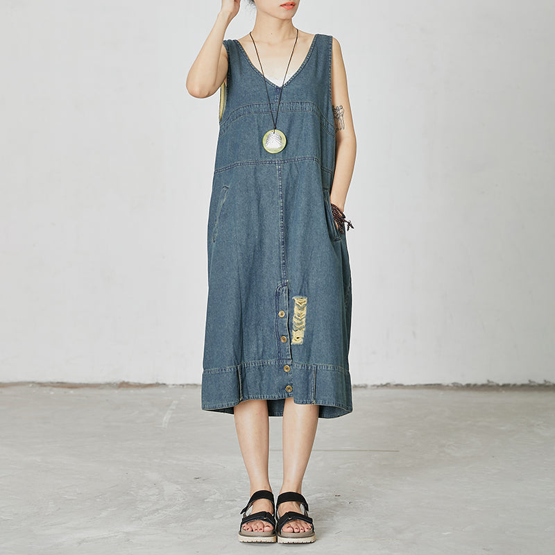 Casual V-Neck Pockets Denim Sleeveless Dress