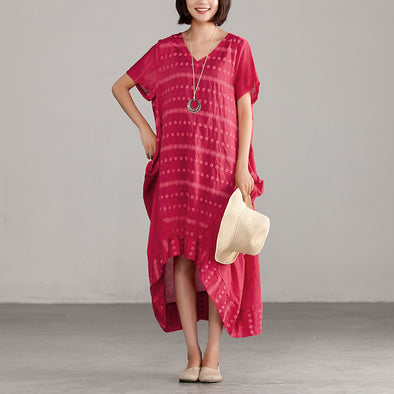 Casual V-neck High-low Hem Dots Red Dress