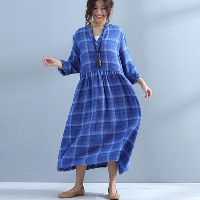 Casual V Neck Plaid Blue Plus Size Women Dress