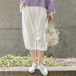 Casual White Women Linen Pants Saggy Crotch