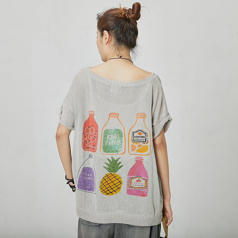 Casual Women Print Short Sleeve T-shirt