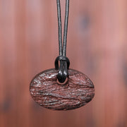 Casual Wooden Oval Pendant Long Necklace
