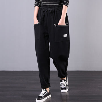 Casual Zipper Pockets Solid Color Harem Pants