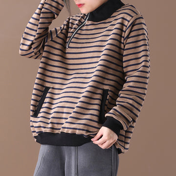 Casual Zipper Stripe Sweatshirt