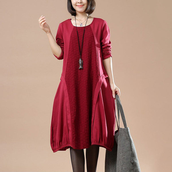 Casual cotton linen loose autumn dress