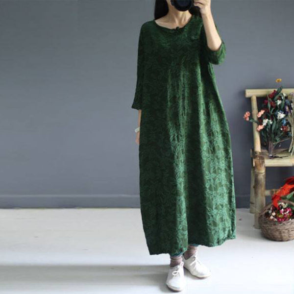 Casual loose fitting 3/4 sleeve autumn dress - Buykud