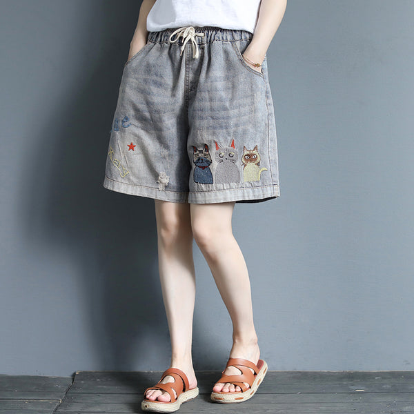 Cats Embroidery Frayed Casual Cute Shorts
