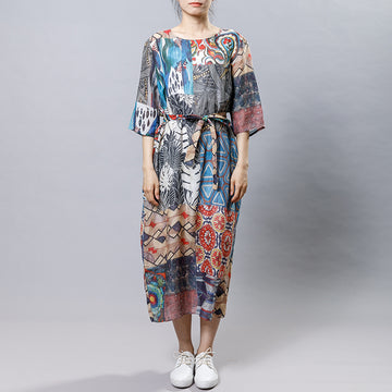 Causal Printed Comfortable Dress With Belt