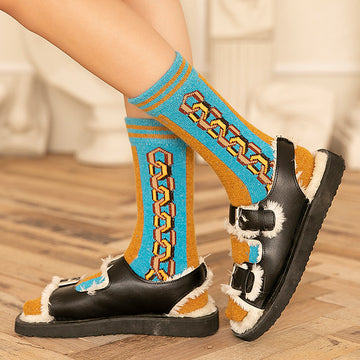 Chain Print Warm Socks