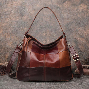 Checkered Leather Stitching Tote Bag