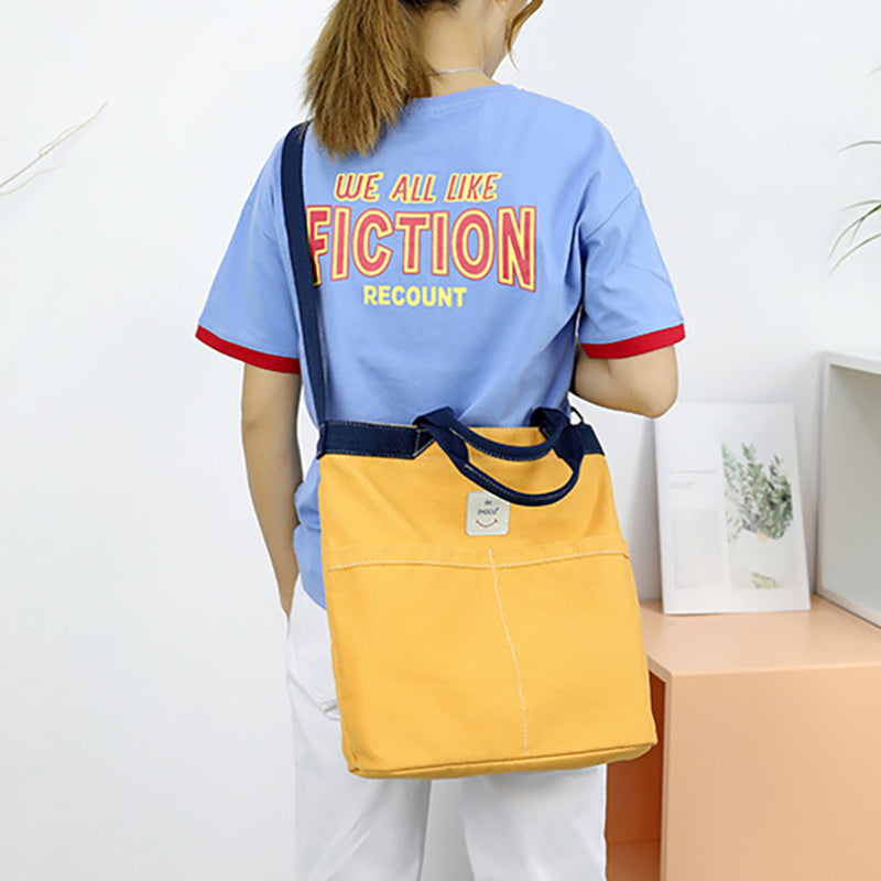 Chic Canvas Pure Color Square Shoulder Bag