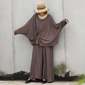 Chic Autumn Commuter Cotton Striped Two Pieces Set
