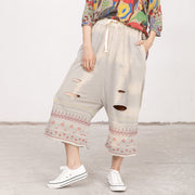 Chic Casual Applique Hole Strap Light Gray Pants