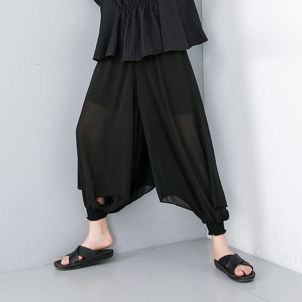 Chiffon Solid Ankle-Length Wide Leg Pants