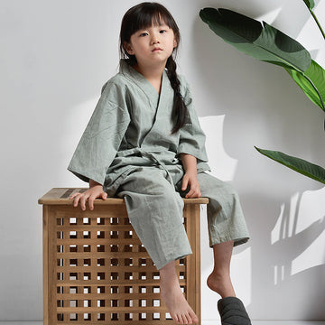 Children Solid Color Home Cotton Loungewear - Two-piece Set