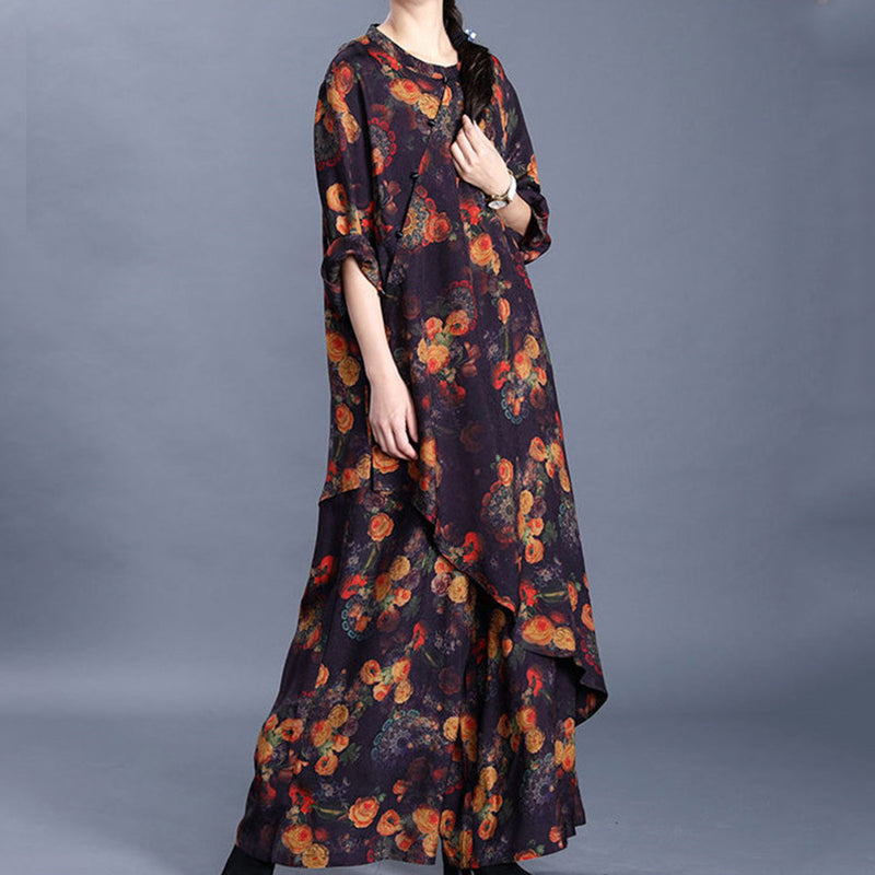 Chinese Style Floral Printed Irregular Two Piece Set