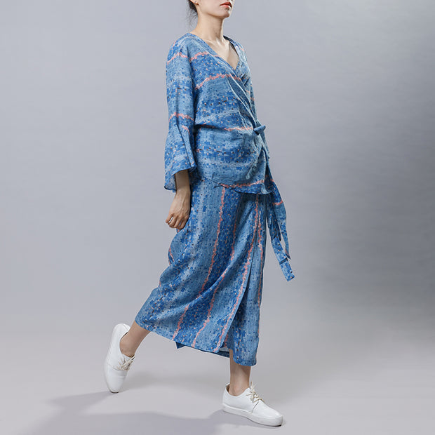 Chinese Style Blue Plaid Two Piece Set