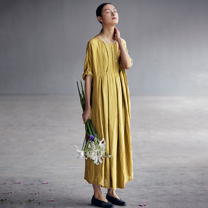 Plus Size - Chinese Style Elegant Pleated Linen Dress
