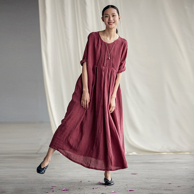 Plus Size - Chinese Style Elegant Pleated Loose Linen Dress