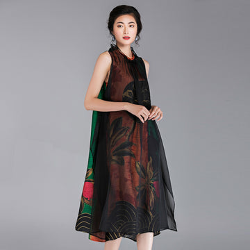 Chinese Style Flower Printed Sleeveless Dress
