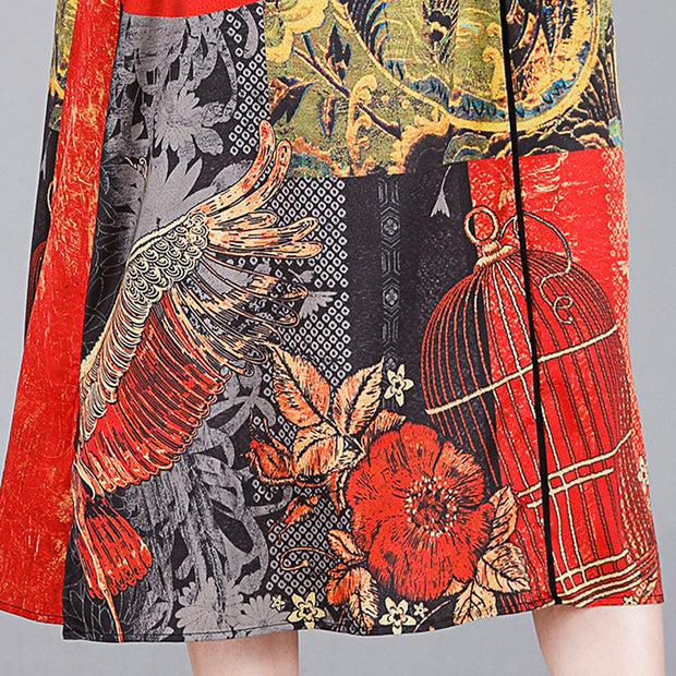 Chinese Style Printed Loose V-Neck Dress