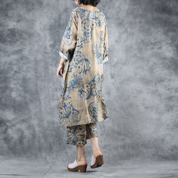 Chinese Style Printed V-Neck Loose Blouse