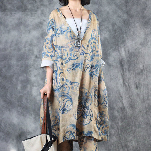 625bbbe6e Chinese Style Printed V-Neck Loose Blouse