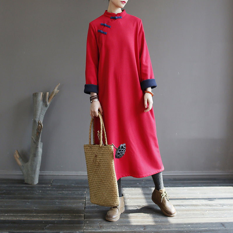 Chinese Style Solid Color Warm Dress