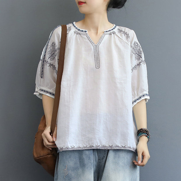 1fdfa29d8 Chinese Style Split Neck Embroidery T-Shirt