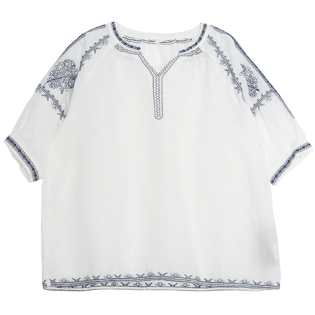 Chinese Style Split Neck Embroidery T-Shirt