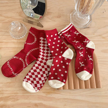 Christmas Women Cute Red Socks(5 Pieces)
