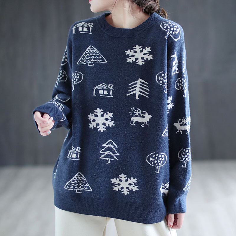 Christmas Women Snowflake Knitted Sweater