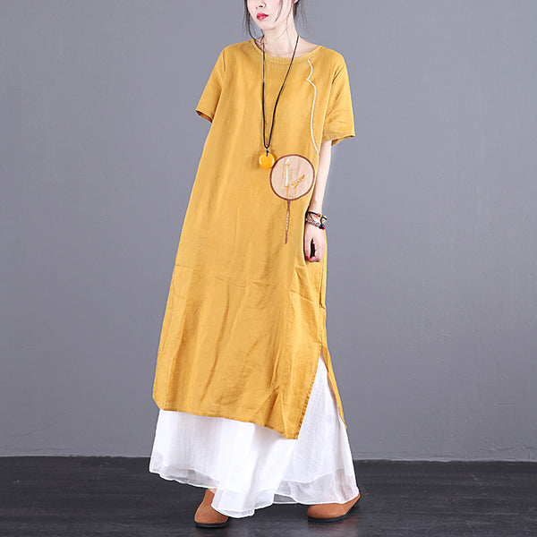 Circular Fan Embroidery Elegant Loose Dress