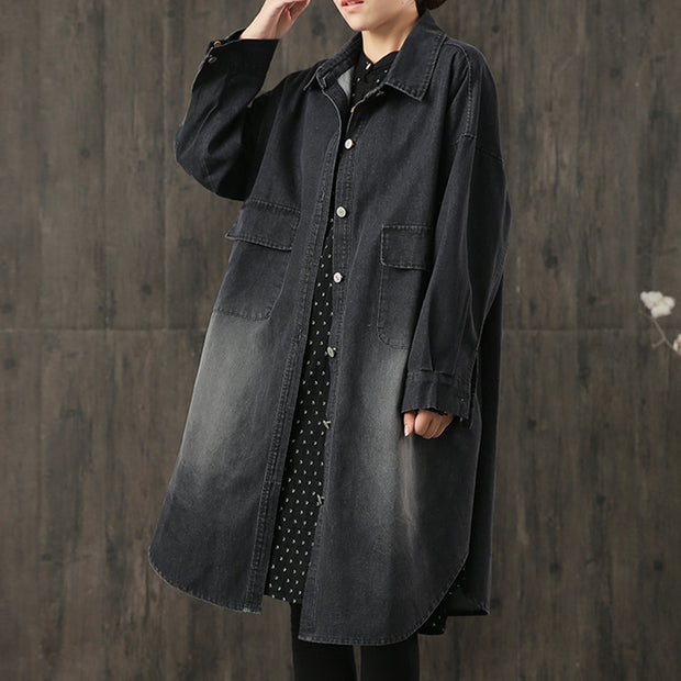 Classic Simple Large Pockets Denim Loose Long Coat