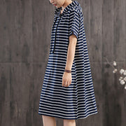 Classic Wild Striped Hooded Loose Dress
