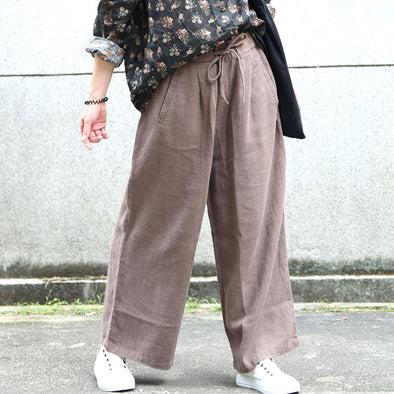 Coffee Lacing Loose Solid Straight Pants
