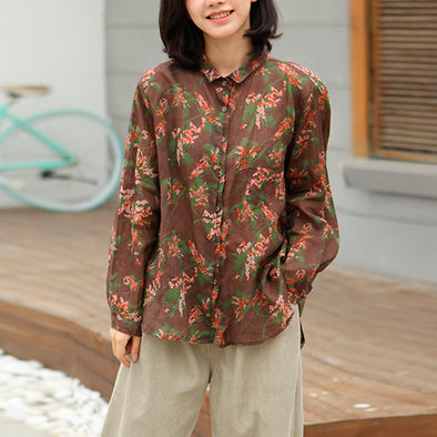 Coffee Linen Casual Flower OL Style Shirt