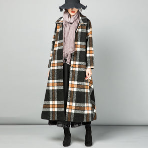 Coffee Plaid Long Winter Wool Overcoat