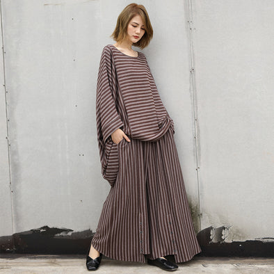 Coffee Striped Autumn Polyester Women Two Pieces Set